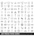 100 fresh food icons set outline style vector image vector image