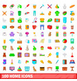 100 home icons set cartoon style vector image vector image