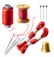 3d realistic tailor set for sewing vector image