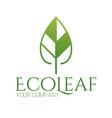 abstract green leaf logo icon design landscape vector image vector image
