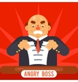 Angry Boss Tearing Sheet White Paper Contract vector image