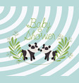 baby shower card with cute bears panda couple vector image vector image