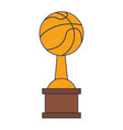 basketball trophy cup championship blue lines vector image vector image
