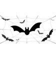 bat icons set bat wings black web silhouette vector image