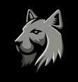 bobcat head metallic icon vector image