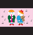 boy and girl playing a melody on a musical vector image