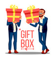 business man holding red gift box vetor holidays vector image