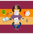 Business people Top view workspace background vector image