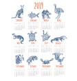 calendar for 2019 with australian animals vector image