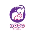 cartoon elephant logo mother and baby vector image vector image