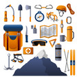 climbing equipment icon set cartoon style vector image vector image