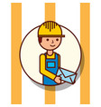 delivery man portrait cartoon holding envelope vector image
