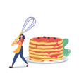 female character morning routine cooking meal for vector image vector image