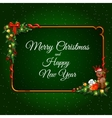 Festive card with Golden frame and Christmas decor vector image vector image