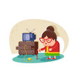 Flat cute old lady with glasses and cane near tv