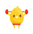funny lemon exercising with barbell sportive vector image