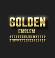 golden emblem style font metallic alphabet vector image vector image