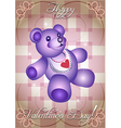 greeting card with blue teddy bear vector image vector image