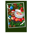 happy toy santa claus with fir branches decorated vector image vector image