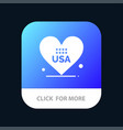 heart love american usa mobile app button android vector image vector image