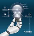 infographic Template with robot hand hold Light vector image vector image