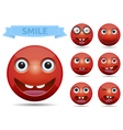 Isolated Funny Red circle glossy emoticon smiley vector image