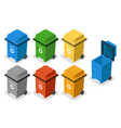 isometric garbage cans trash separation recycling vector image vector image