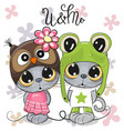 kittens boy and girl on a flowers background vector image vector image