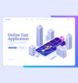 landing page of online taxi application vector image vector image