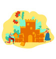 man and woman building romantic castle love story vector image vector image