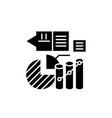 marketing stats black icon sign on vector image vector image