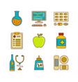 minimal lineart flat healthcare medicine icon set vector image vector image