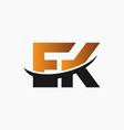 modern ek letter monogram logo vector image