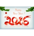red happy new year ribbon on snowing background vector image vector image