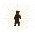 retro standing bear silhouette logo vector image vector image