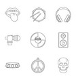 rock music icon set outline style vector image vector image