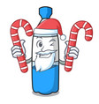 santa with candy water bottle mascot cartoon vector image vector image
