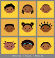 set cute faces African children flat style vector image