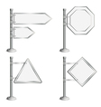 Set Poles with Traffic Signs vector image vector image
