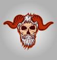 skull horned vector image vector image