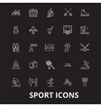 sport editable line icons set on black vector image vector image
