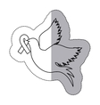sticker silhouette pigeon wiht ribbon of breast vector image vector image