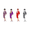stylish fashion dressed girls 1950s 1960s style vector image vector image