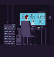 surveillance monitoring room man watching vector image vector image