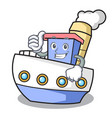thumbs up ship character cartoon style vector image vector image