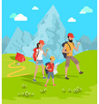 travelers and mountains flower vector image