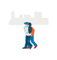 two guys dressed in seasonal clothes walking on vector image vector image