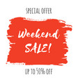 weekend sale lettering inscription special offer vector image vector image