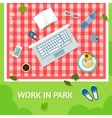 Work in park with a computer vector image vector image
