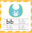 worksheet for tracing words - bib learning vector image vector image
